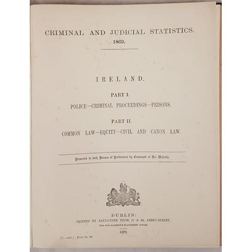 120 - Criminal & Judicial Statistics - 1869 Ireland. Published by Thom, Dublin 1870. Folio. Cloth. Gil...