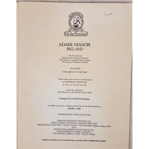 126 - Christies catalogue. Sale of contents of Adare Manor June 1982, the scarce library catalogue. Prices...