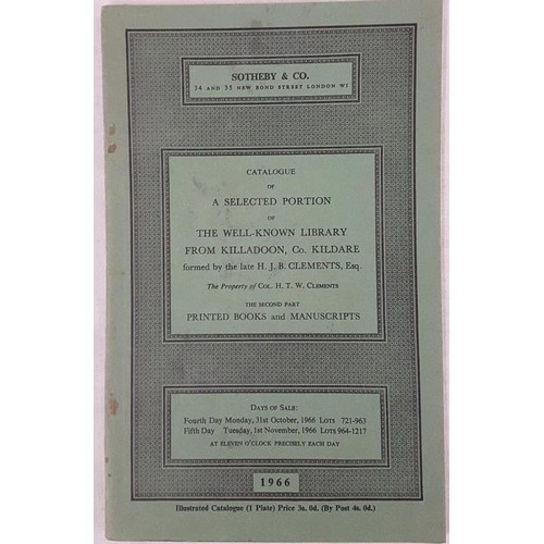 130 - Sothebys catalogue – Catalogue of the well known Irish library of H.J.B. Clements, Killadoon, Co. Ki...