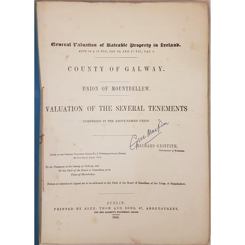 137 - Griffiths Valuation, 1855, Union of Mountbellew, Co Galway, original blue covers, vg. (1)
