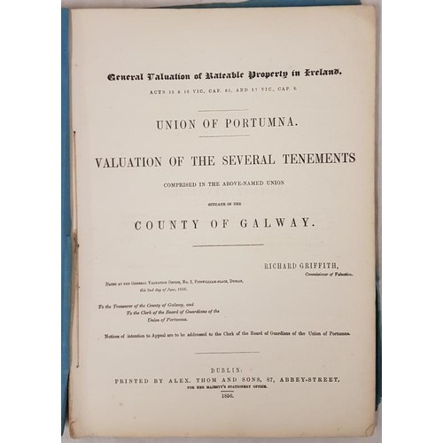 138 - Griffiths Valuation, 1856, Union of Portumna, Co Galway, original blue covers, vg. (1)