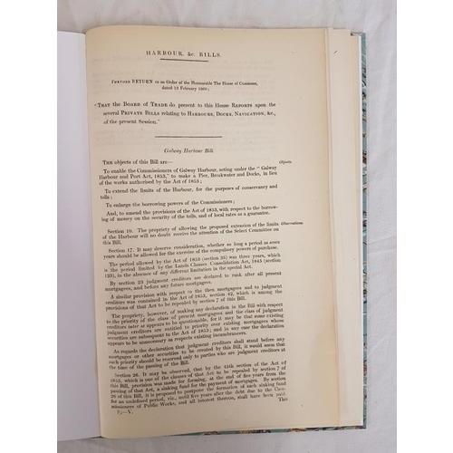 155 - Harbour Bills 1860/61 Relating to Galway-Westport-New Ross. Folio. Attractive recent binding....