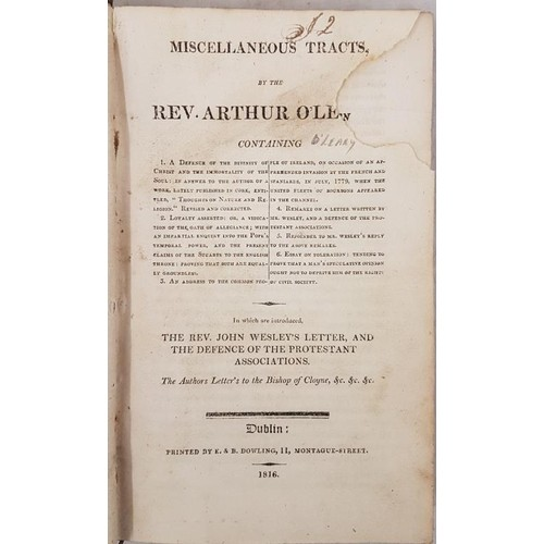 158 - Miscellaneous Tracts by Rev. Arthur 0'Leary. Dublin. 1816. 1st Calf. Rubbed