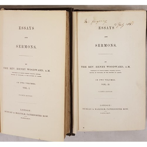 175 - Rev Henry Woodward (Rector of Fethard in Co Tipperary), Essays and Sermons, in 2 vols with original ...