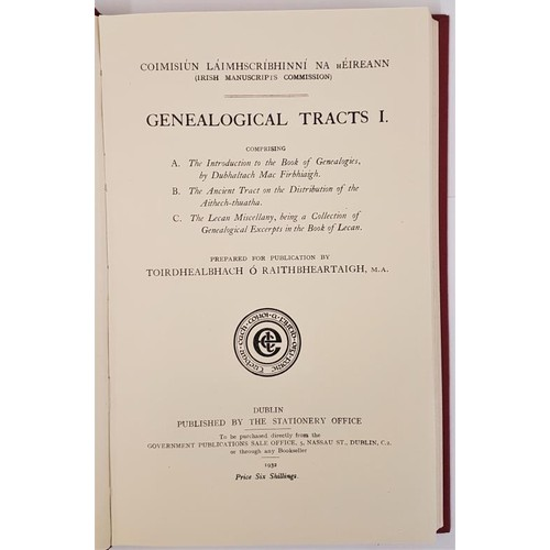 52 - Genealogical Tracts 1, Irish Manuscripts commission 1932, h/b 8vo, 245 pps, mint copy of now rare wo...