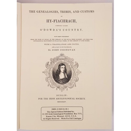 134 - Genealogies, Tribes and Customs of Hy-Fiachrach by John O'Donovan. 1993 limited reprint of 1844 edit...