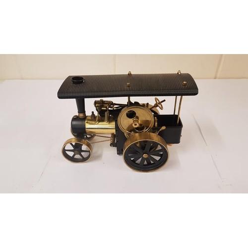 9 - Wilesco D406 Steam Traction Engine black & brass - Germ Oils