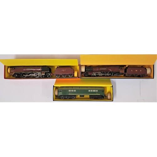 13 - Three Hornby Dublo 00 Gauge Model Locomotives - EDL 2 Loco & Tender L.M.S.