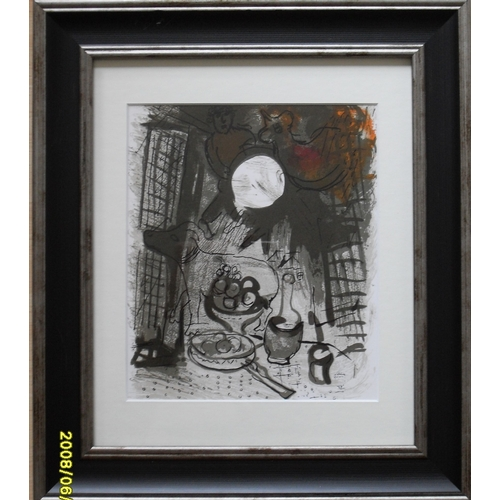 Marc Chagall, 'BROWN STILL LIFE' original lithograph 1957, framed, mounted and glazed 23 x19 cm, printed  by Mourlot of Paris, Cramer Reference: 34