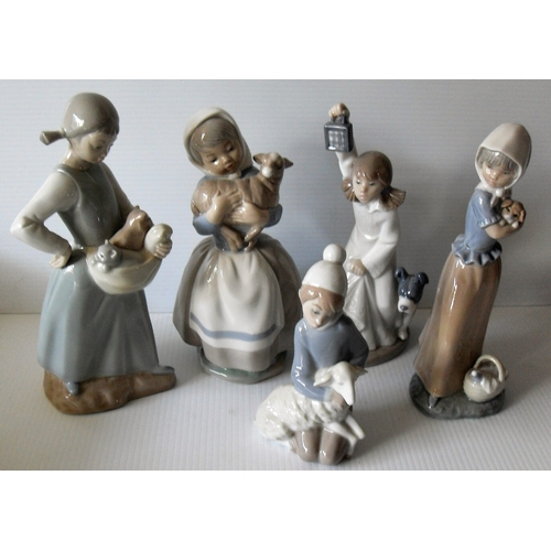 139 - A Lladro figurine of a young girl holding a lamb, four NAO figurines of girls holding dogs and cats ...