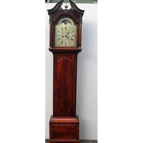 29 - A George III mahogany 8-day moon phase longcase clock, silvered dial, date aperture with Roman and A...