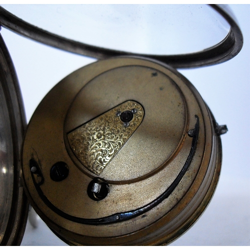 15 - An English silver-cased key wind  fusee lever pocket watch, London 1856, the dial with Roman numeral...