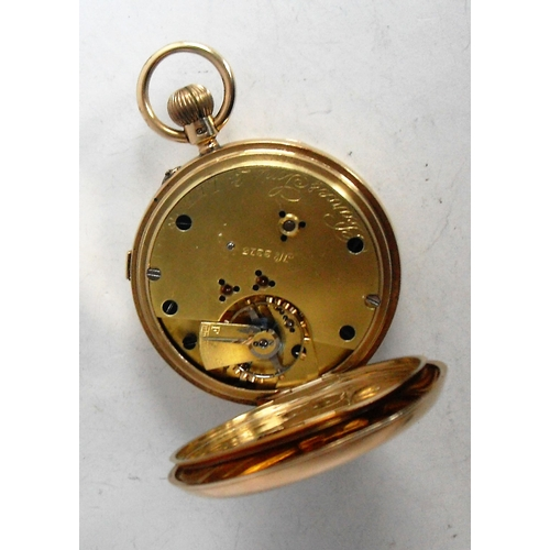 16 - An 18ct gold open-faced stem wind pocket watch, by Pearce & Sons of Leeds, hallmarked Chester 1912 w...