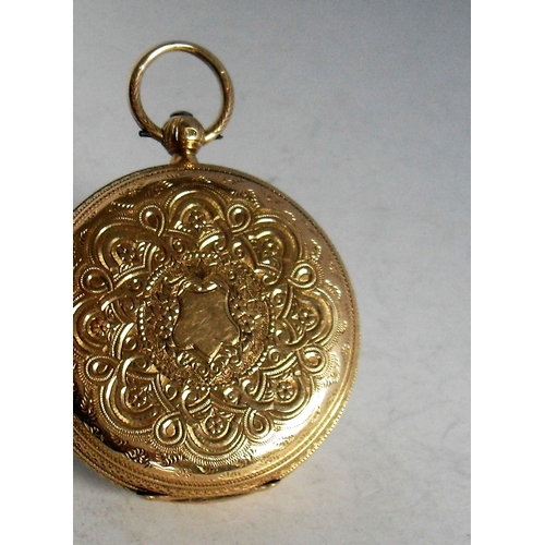17 - An 18ct gold embossed key wind English fusee lever pocket watch. The white enamel dial, 38mm diamete...