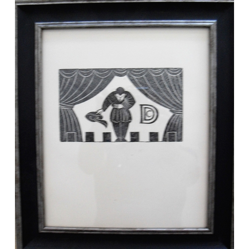 Eric Gill, ACTOR ON STAGE, wood engraving on paper, copy number 204 from an edition of 400, Reference: Cleverdon 1929, recently framed and mounted, 11 x 18 cm,