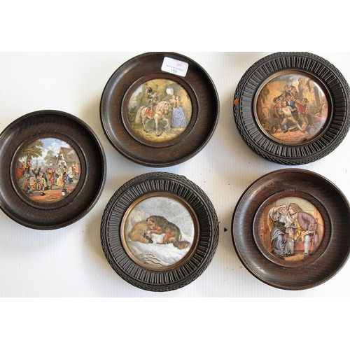 159 - A selection of five wood-framed Prattware pot lids: 'The Village Wedding', 'The Snow Drift', 'Uncle ...