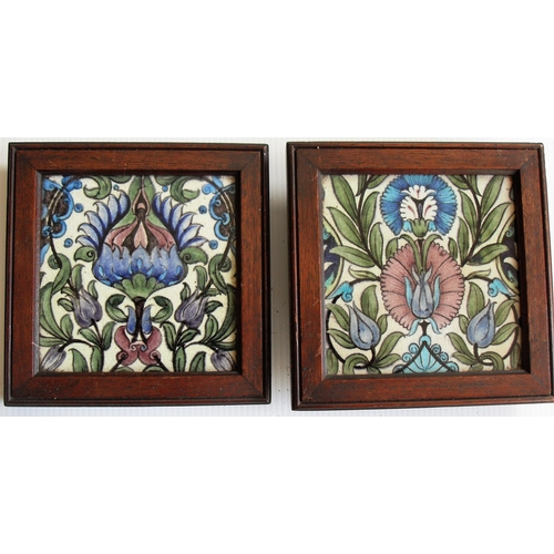 156 - William De Morgan: two framed Sands End Isnik-style square pottery tiles with turquoise and aubergin...