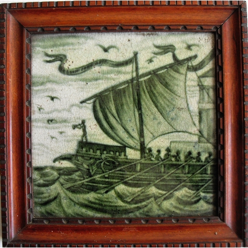 157 - A William De Morgan framed square Galleon tile, painted in full sail with rowers in middle ground, b...