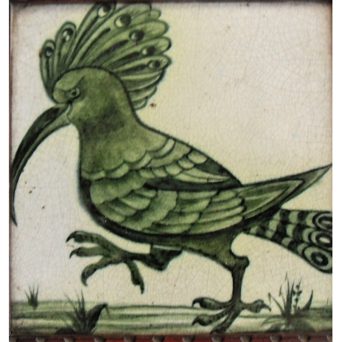 158 - A William De Morgan square framed tile with hoopoe depiction in green on white ground, 6
