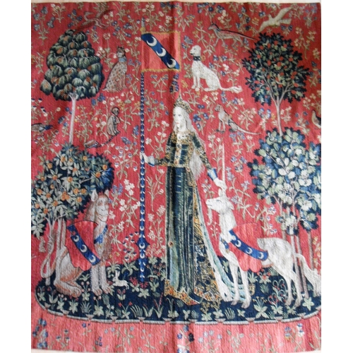 16 - After the original 15th century tapestry,  (Musée de Cluny, Paris) 'The Lady and the Unicorn' one of...