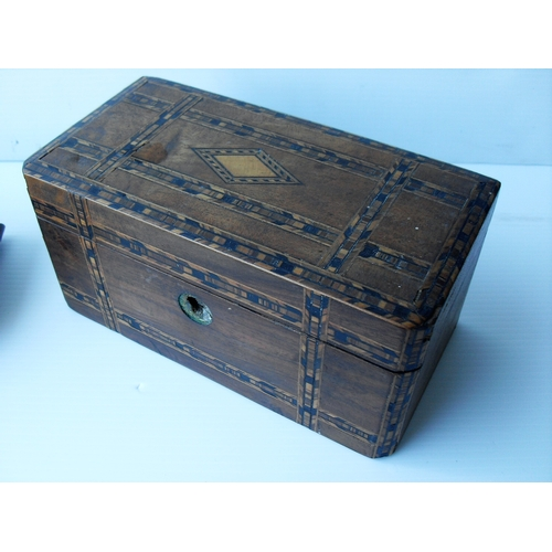 8 - ****WITHDRAWN***** A 19th century walnut and crossbanded oblong jewellery box with marquetry lozenge...