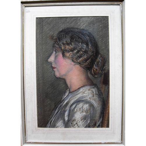 42 - James W. Tucker A.R.C.A., F.R.S.A (1898 to 1972), PORTRAIT OF THE ARTIST'S WIFE, MURIEL, pastel, fra...
