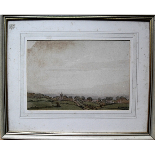 43 - James W. Tucker A.R.C.A., F.R.S.A (1898 to 1972), BLUE BANK SHIGHTS, VIEW FROM WAGGLE BARNBY, waterc...