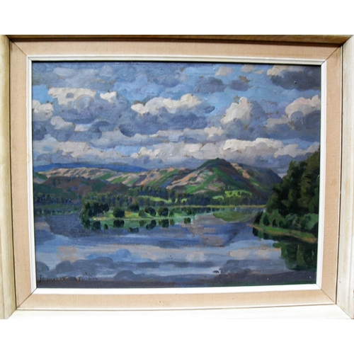 44 - James W. Tucker A.R.C.A., F.R.S.A (1898 to 1972), LAKELAND NO. 4, oil on board, framed, mounted and ...
