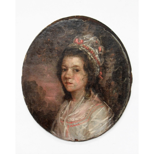 45 - Circle of John Downman (British, 1750-1824), PORTRAIT OF A YOUNG GIRL, oval oil on canvas on board, ...