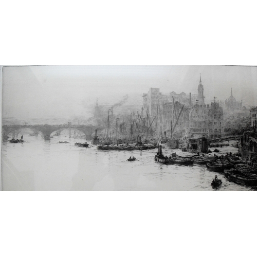 76 - William Lionel Wyllie, (1851-1931) British, ST. PAUL'S FROM THE THAMES, etching, signed bottom left ...