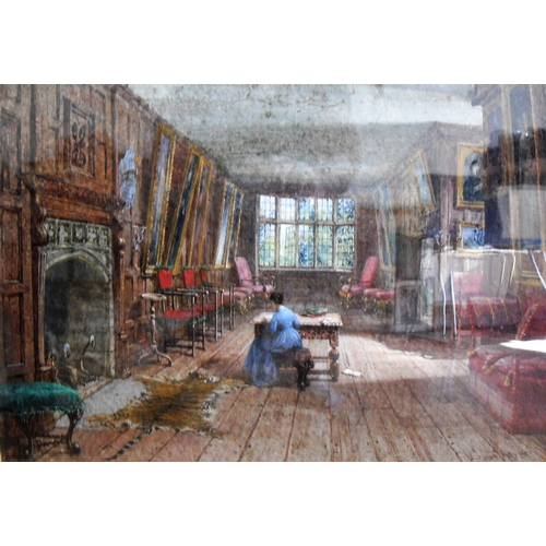 77 - Louise Rayner (1832-1924), THE LONG ROOM, HARWOOD HOUSE, watercolour, signed bottom right, mounted a...