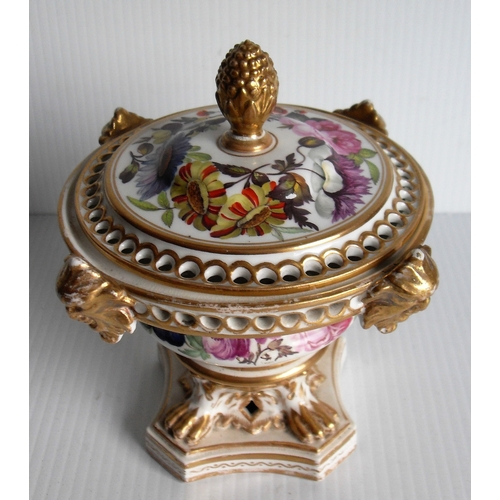 146 - A Georgian Derby pot pourri vase and cover of compressed campana form, the rim applied with four bur...