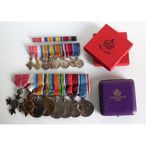 188 - A mounted group of eight WWI, WWII medals and equivalent dress medals awarded to PAYR. LT. A. C. M. ...
