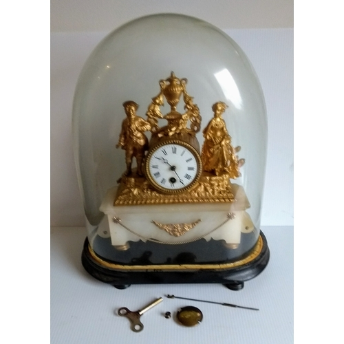 190 - Two 19th century Continental mantle clocks with gilded figural decoration surrounding cylindrical ti...