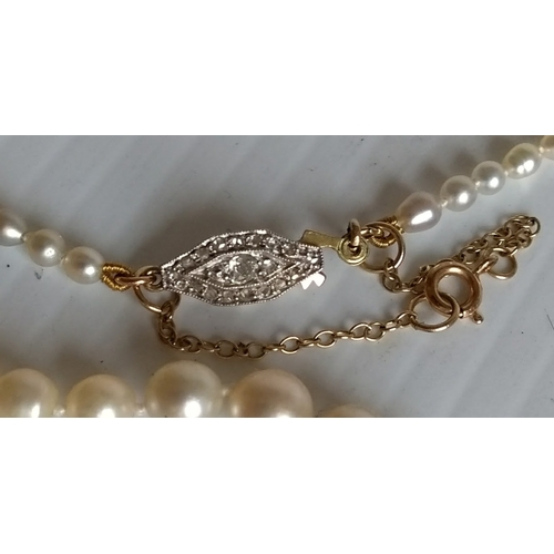 257 - A single strand graduated natural pearl necklace, the one-hundred and forty-nine pearls graduating f...