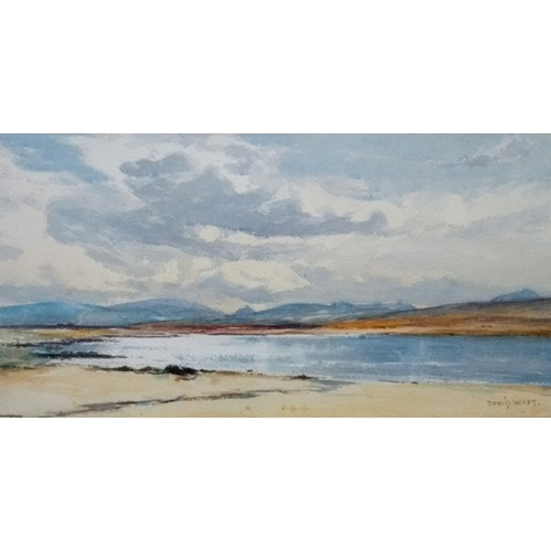 66 - David West RSW (Scottish 1868 - 1936) COASTAL SCENE, watercolour, signed bottom right, 20 x 40cm, mo...