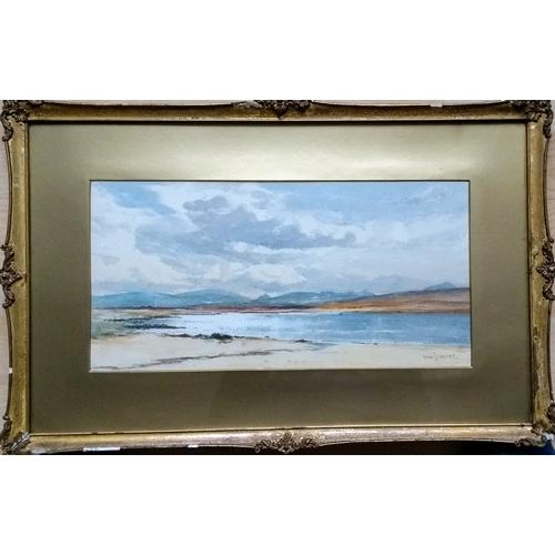 66 - David West RSW (Scottish 1868 - 1936) COASTAL SCENE, watercolour, signed bottom right, 20 x 40cm, mo...