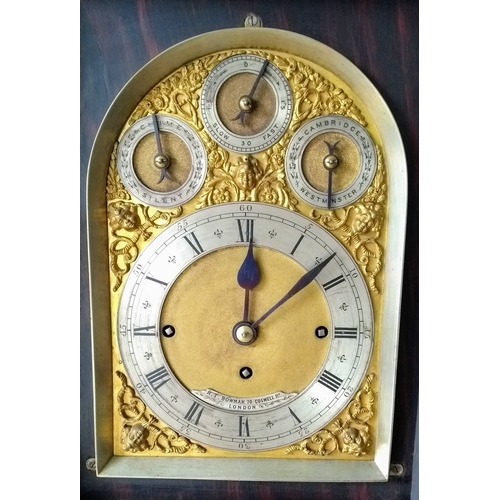 192 - A Victorian rosewood-cased three-train bracket clock with brass marquetry decoration, silvered dial,...