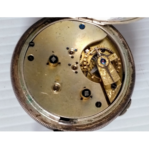 191 - A late 19th century French silver-cased key-wind pocket watch with Roman numerals, seconds hand, hal...