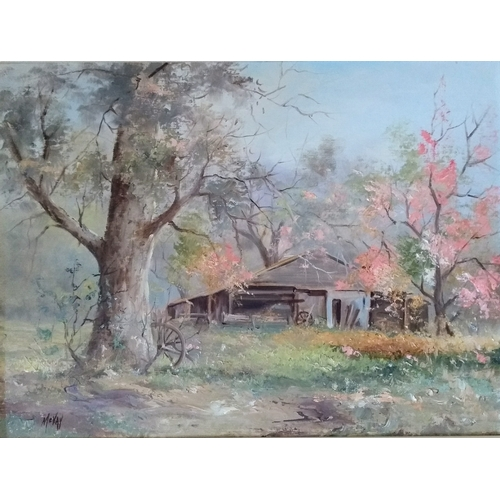Dorothy McVay, BLOSSOM BY THE BARN, oil on board, framed and mounted, signed bottom left, 45 x 60cm