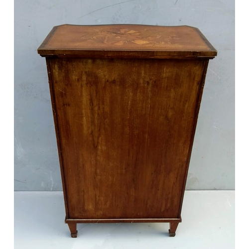 1 - An Edwardian walnut music cabinet with frieze drawer, open vertical dividers under, marquetry decora...