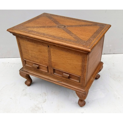 27 - An Oriental hardwood sewing or work box with sectioned interior, two drawers under on cabriole legs,...