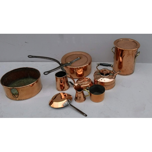 13 - A selection of 19th century and later copper utensils, etc...