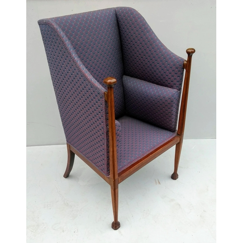 10 - An Arts and Crafts hand-carved wingback armchair with crossbanding and string inlay, 115 x 70 x 62 c...