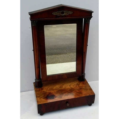 5 - A Regency mahogany vanity mirror on architectural supports, drawer under with brass knob, 82 x 39 x ...