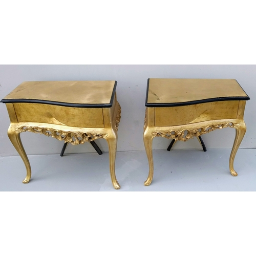 4 - A Christopher Guy headboard, and matching pair of bedside tables in yellow gold, 71 x 73 x 71 cm...
