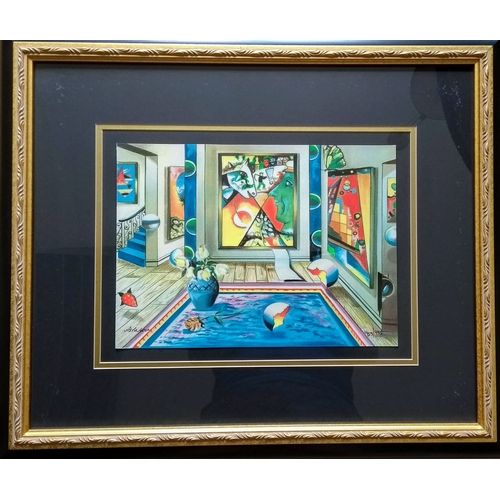45 - Alexander Astahov, HOMMAGE TO CHAGALL, serigraph 453/495, framed, mounted, signed and numbered, 24 x...
