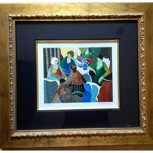 47 - Itzchak Tarkay (1935-2012), CHIT CHAT, serigraph, A/P 26/50, signed, framed and mounted, 22 x 27 cm ...
