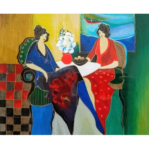 48 - Itzchak Tarkay (1935-2012), TWO FRIENDS, serigraph, A/P 1/50, signed, framed and mounted, 22 x 26 cm...
