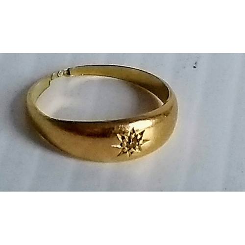 A yellow gold gypsy ring, stamped 18ct, size L, 3g